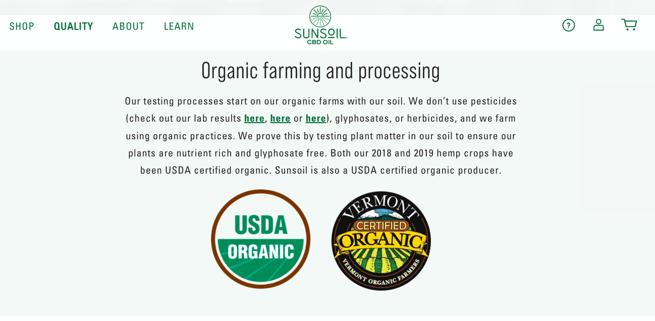 Sunsoil certified organic producer
